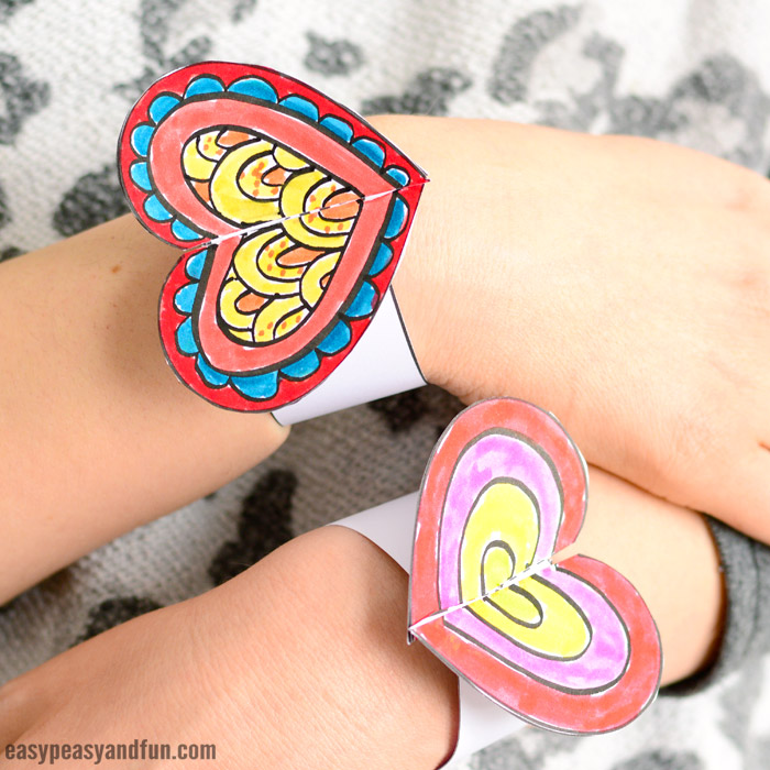 Diy Printable Heart Paper Bracelets For Kids