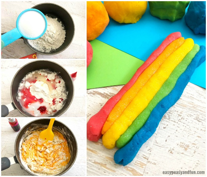 DIY Rainbow Playdough Recipe Idea