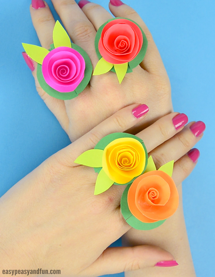 Diy Flower Paper Rings Handy Craft Template Included Easy Peasy
