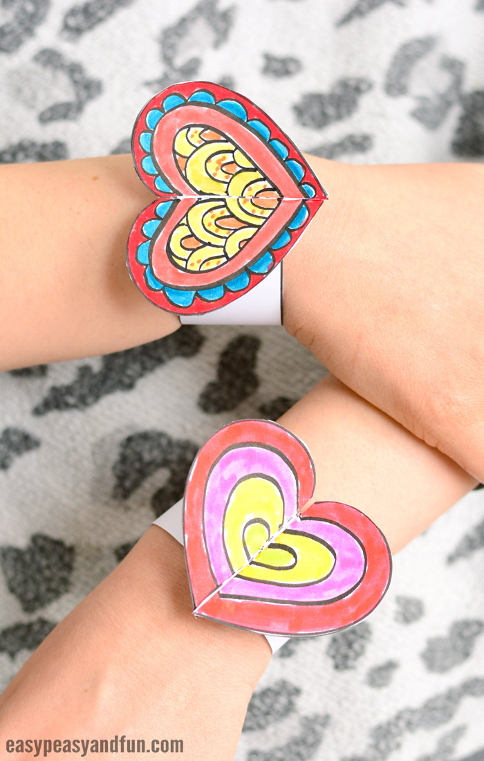 Heart Paper Bracelets for Kids Printable Template