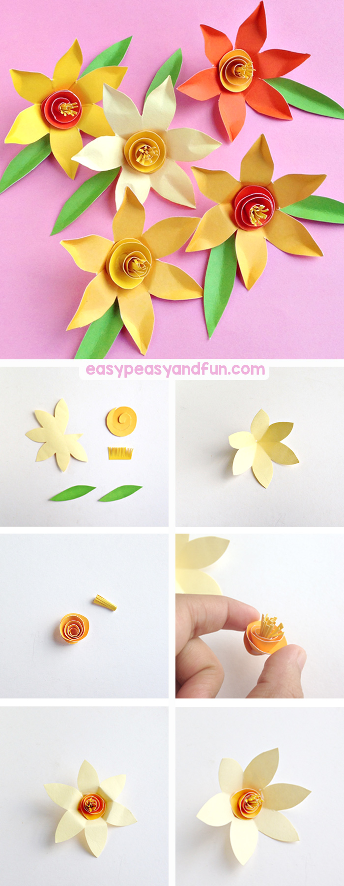 How to Make Paper Daffodils - step by step tutorial