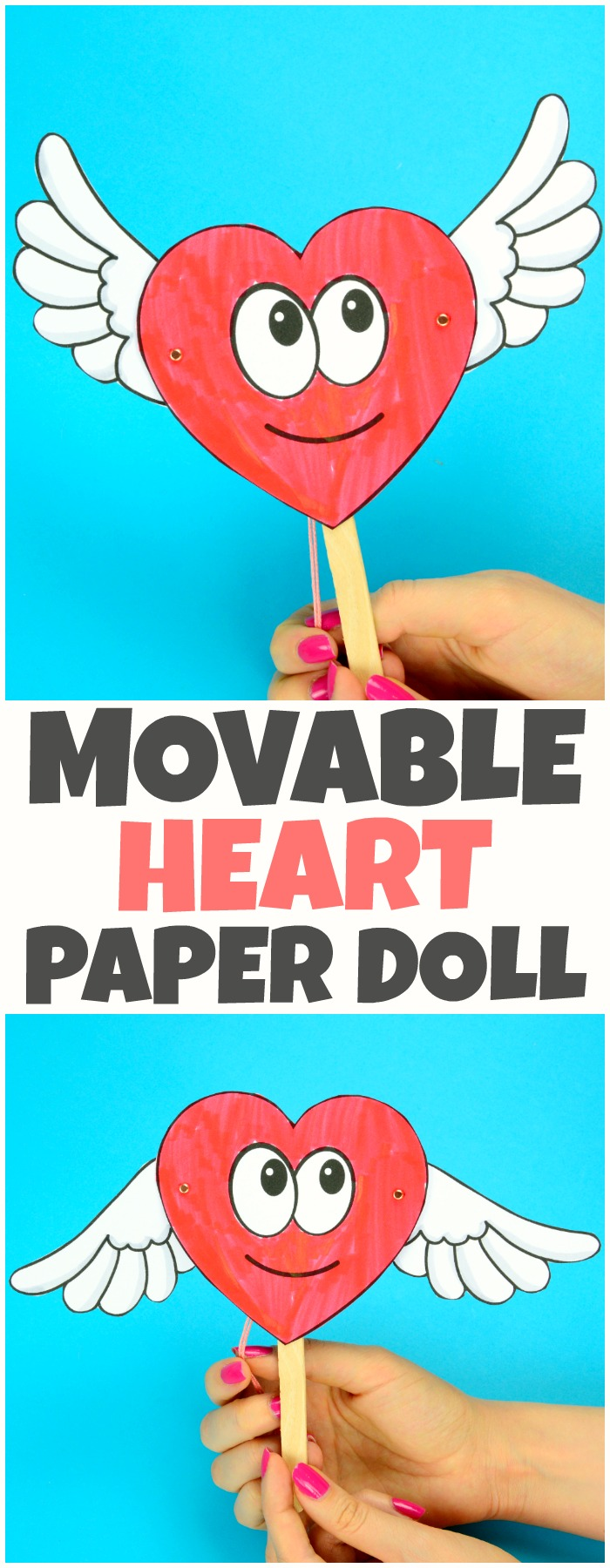 Movable Heart Paper Doll Valentines Day Craft for Kids #valentinesdaycraft #craftsforkids #papercrafts
