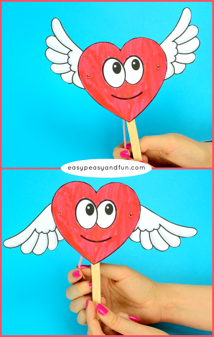 Movable Heart Paper Doll Printable Craft for Kids
