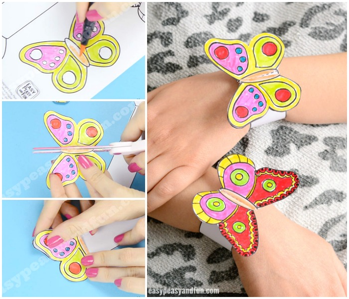 Printable Butterfly Paper Bracelets for Kids