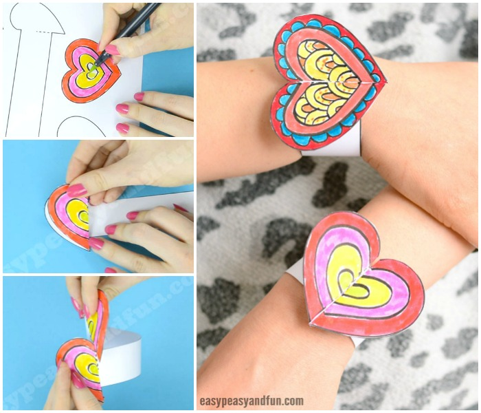 Printable Heart Paper Bracelets for Kids