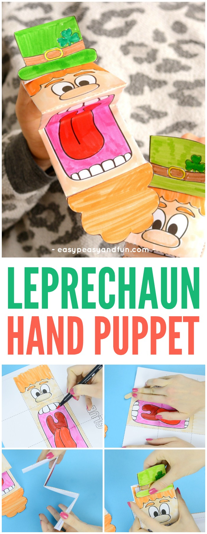 Printable Leprechaun Puppet for Kids #printablepuppet #leprechauncrafts #papercraftsforkids