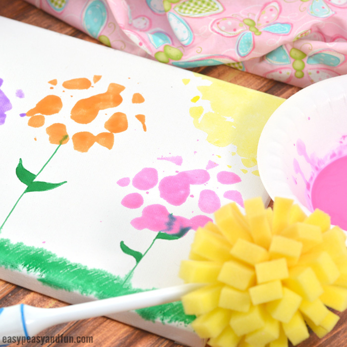 Spring Flowers Sponge Painting Easy Peasy And Fun