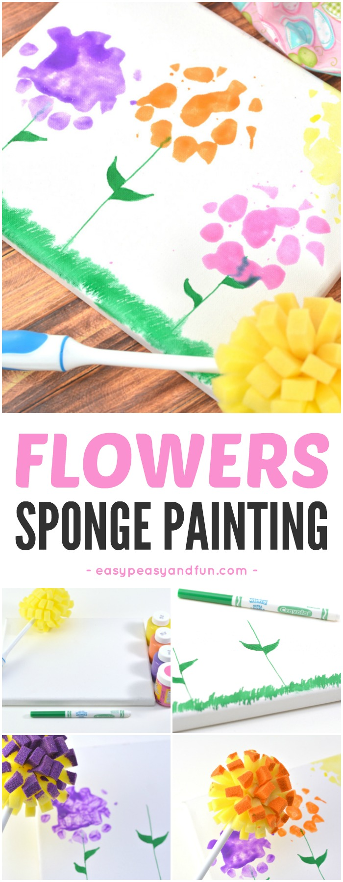Spring Flowers Sponge Painting Canvas Art Idea for Kids #canvasart #paintingforkids #springcraftsforkids