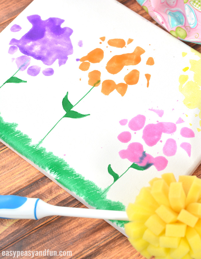 Spring Flowers Sponge Painting Canvas Art for Kids