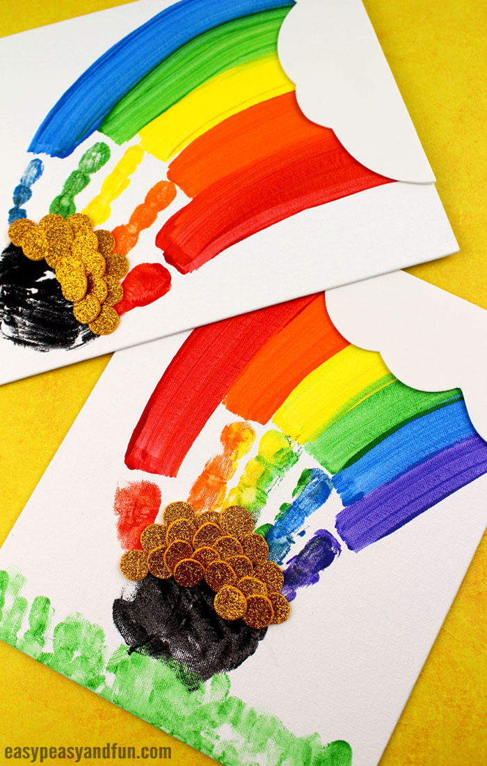 St. Patrick's Day Handprint Rainbow Art for Kids