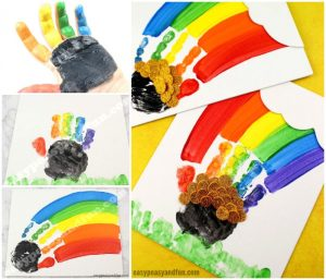St. Patrick's Day Handprint Rainbow Canvas Art