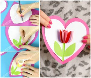 Tulip In A Heart Card Paper Craft For Kids Easy Peasy