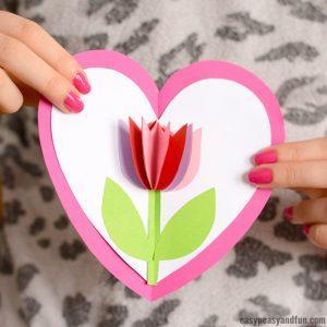 Tulip in a Heart Card Valentines Day Craft