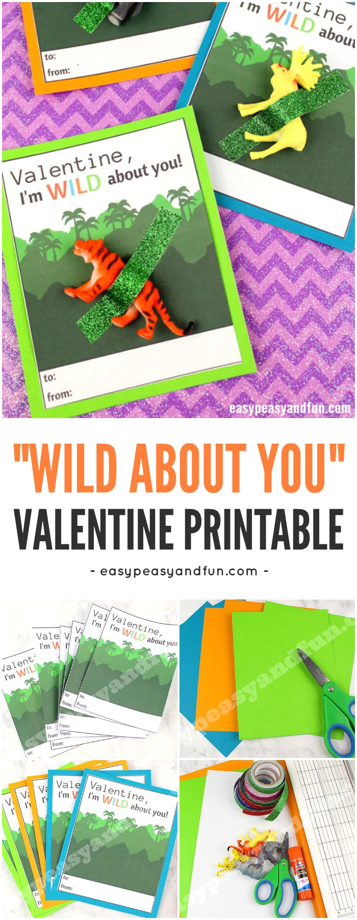 """Wild About You"" Valentine Printable Card for Kids to Make #Valentineprintable #papercraft #valentinesdaycraftforkids"