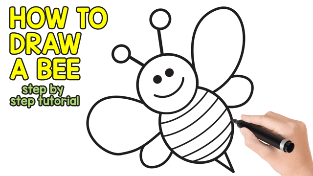 bee finger puppet template - how to draw a bee cute step by step tutorial easy