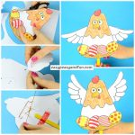 Cute Movable Chicken Paper Doll Easter Craft for Kids