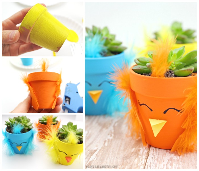 DIY Easter Chick Planter Craft Idea