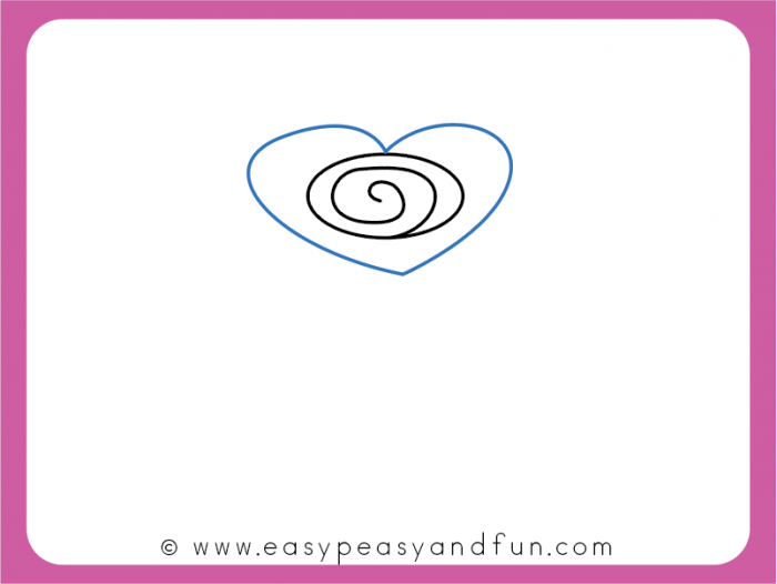 Draw a heart around the spiral