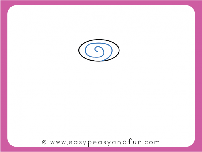 Draw a spiral inside the oval
