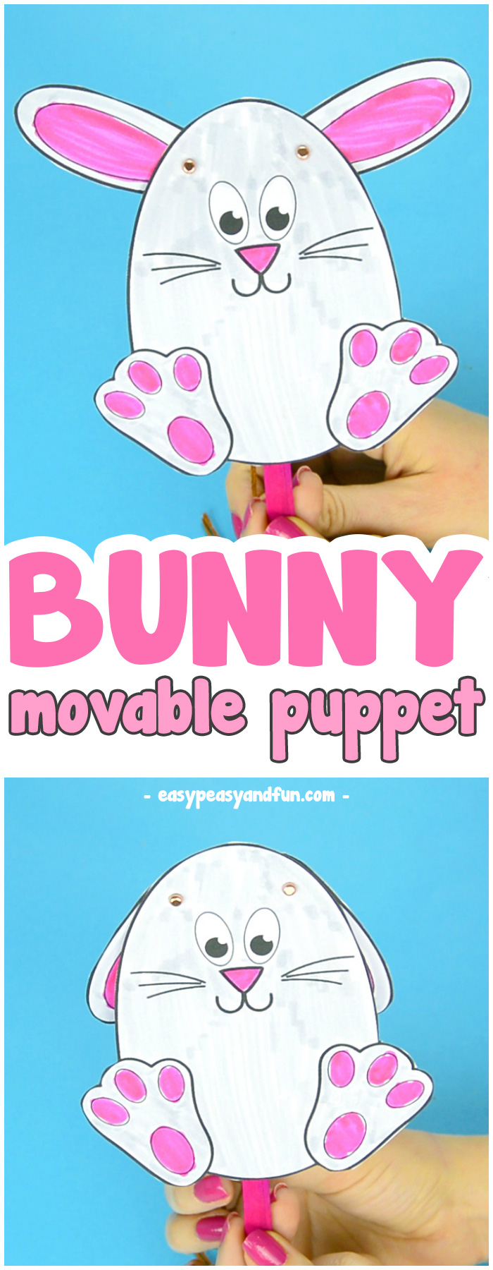 Easter Bunny Puppet Craft for Kids #craftsforkids #Eastercrafts #activitiesforkids