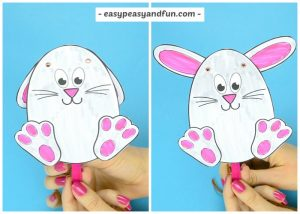 Movable Easter Bunny Paper Doll