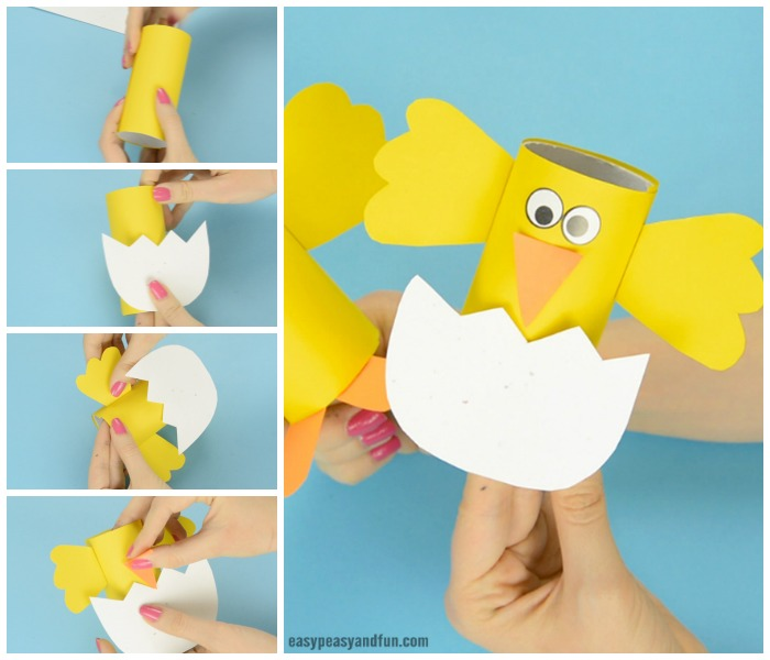 Easter Chick Paper Roll Craft Idea