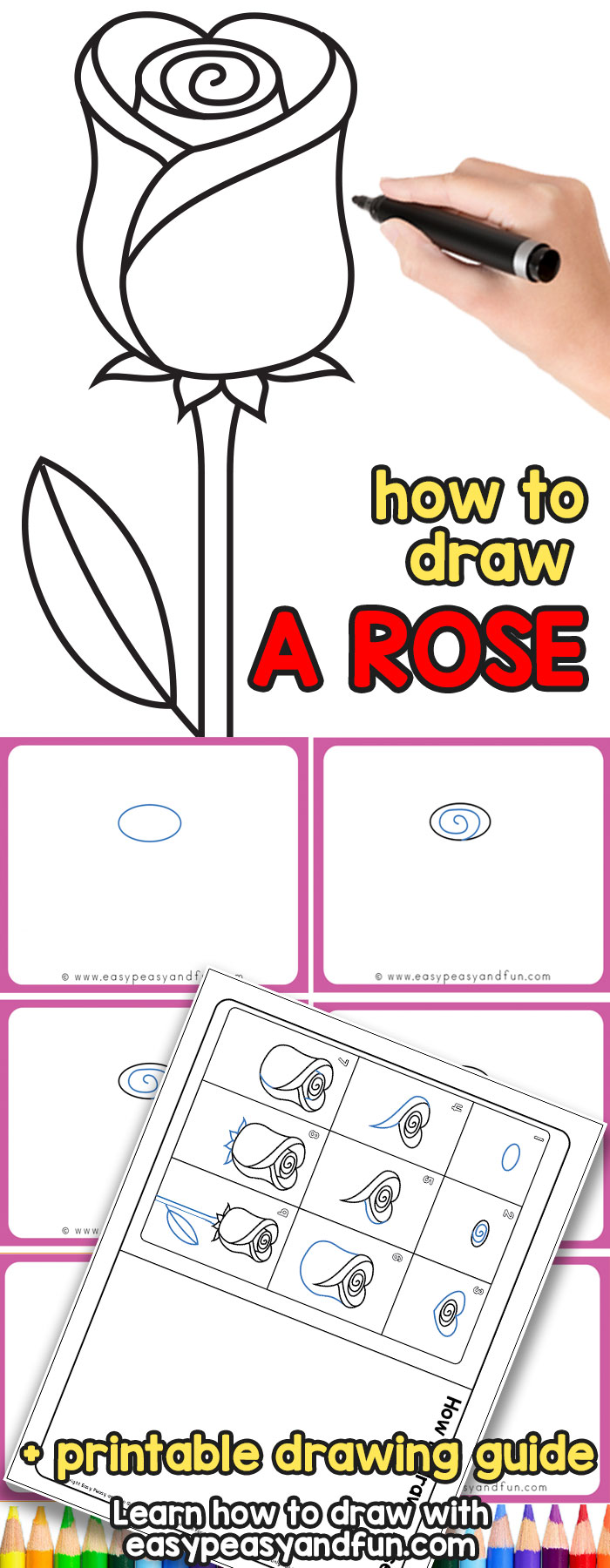 How to Draw a Rose - an easy step by step drawing tutorial for kids and beginners