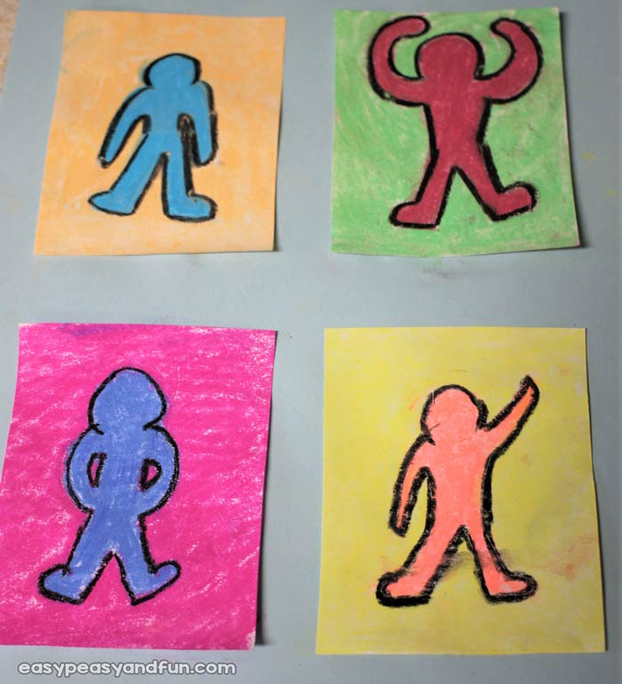 keith haring figure templates - keith haring art for kids pop art lesson idea easy
