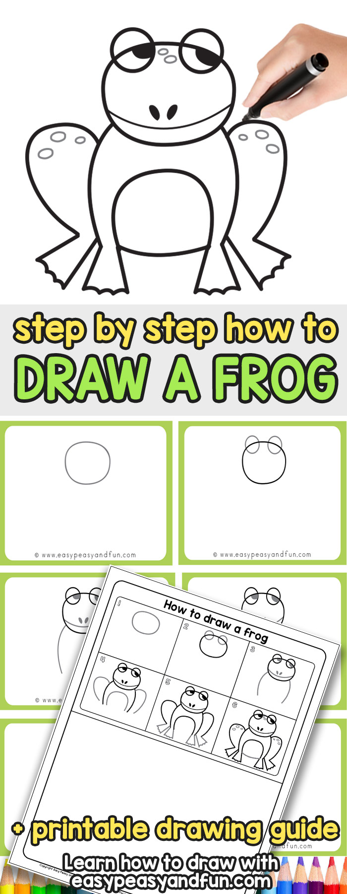 Learn how to draw a frog with our step by step tutorial (+ grab the printable template) #howtodraw