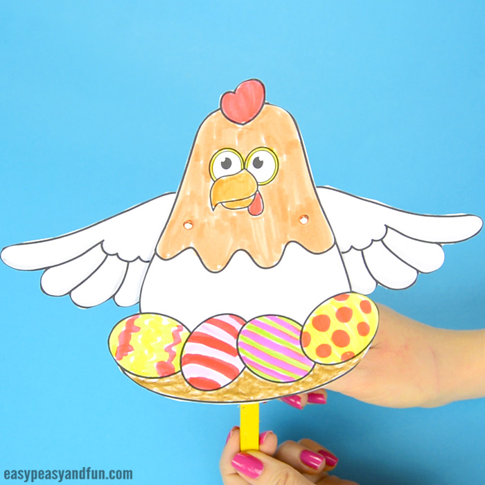 Movable Chicken Paper Doll Craft for Kids