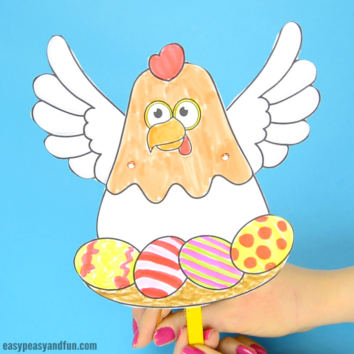 Movable Chicken Paper Doll Craft