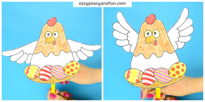 Movable Chicken Paper Doll Easter Craft