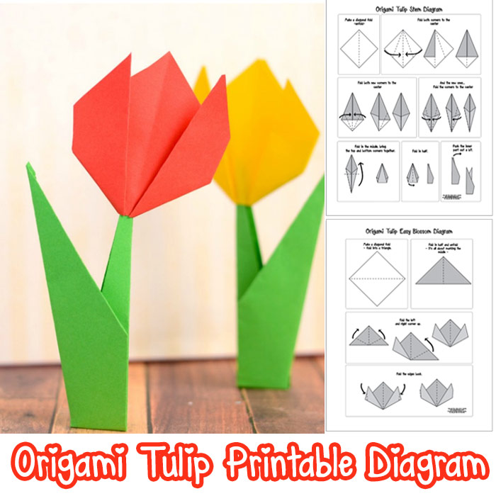20 cute and easy origami for kids easy peasy and fun origami tulips with stem mightylinksfo