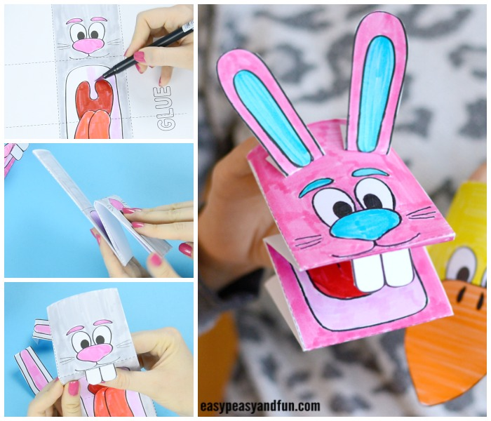 Printable Bunny and Chick Puppets Craft for Kids