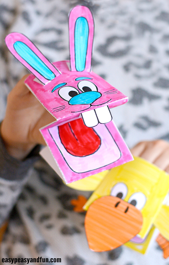 Printable Bunny and Chick Puppets Craft