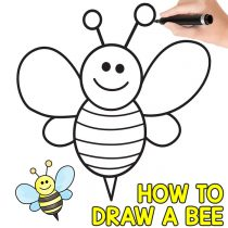 How to Draw a Bee – Cute – Step by Step Tutorial