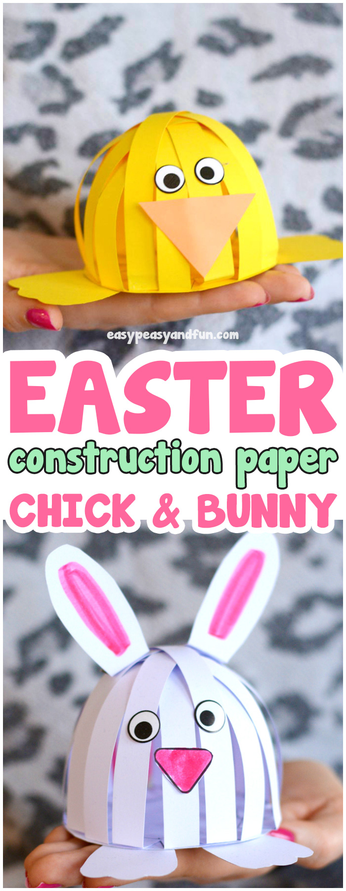 Simple Easter Construction Paper Craft for Kids to Make. #craftsforkids #bunnycrafts #papercraftsforkids