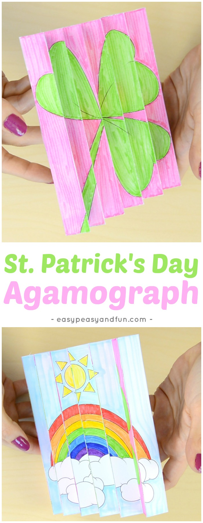 St. Patrick's Day Agamograph Template for Kids to Make #stpatricksdaycrafts #papercrafts #crafttemplate