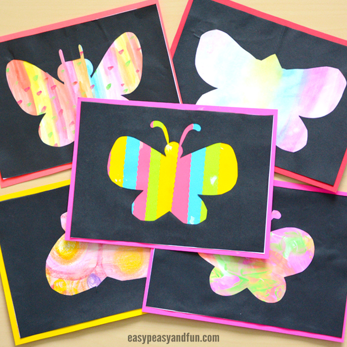 Butterfly silhouette art idea for kids.