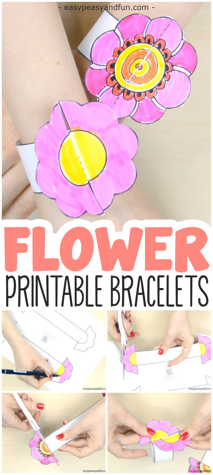 DIY Printable Flower Bracelets for Kids