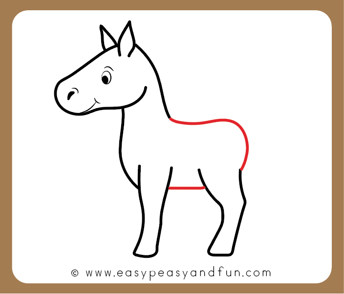 Draw the back and belly of the horse