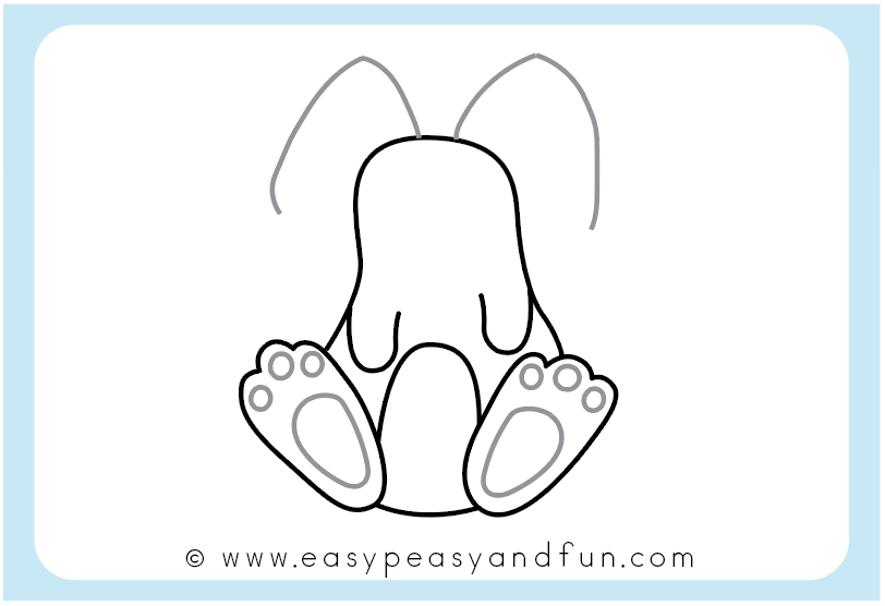Draw the bunny feet details and start drawing the ears