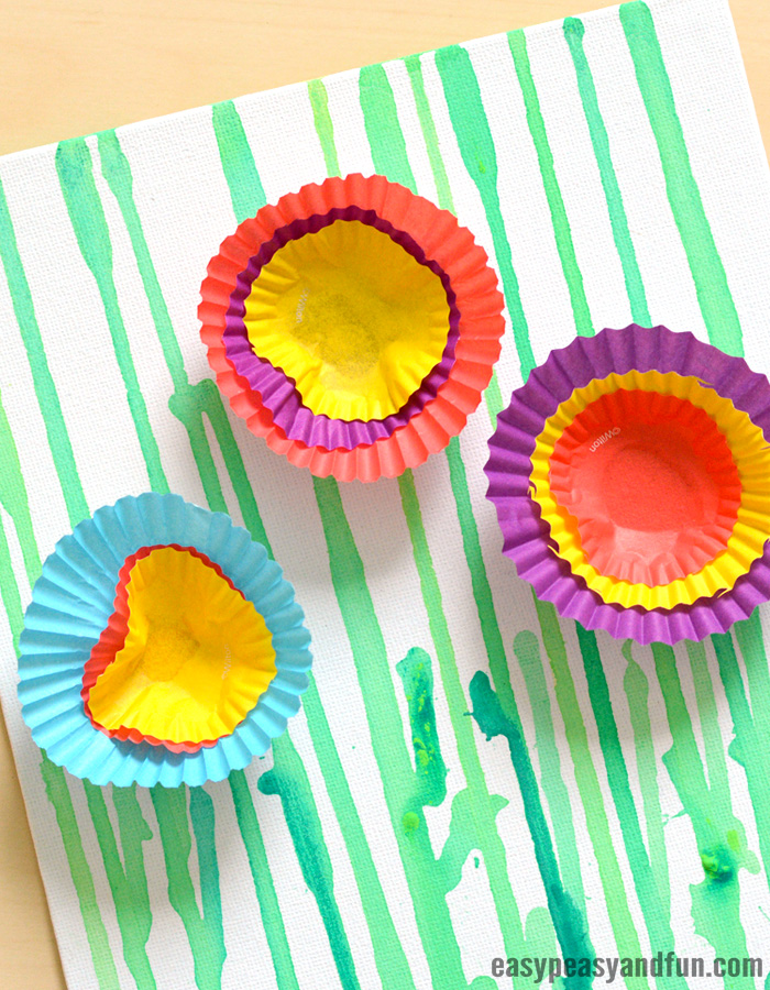 Drip Painting Flowers Art Activity For Kids