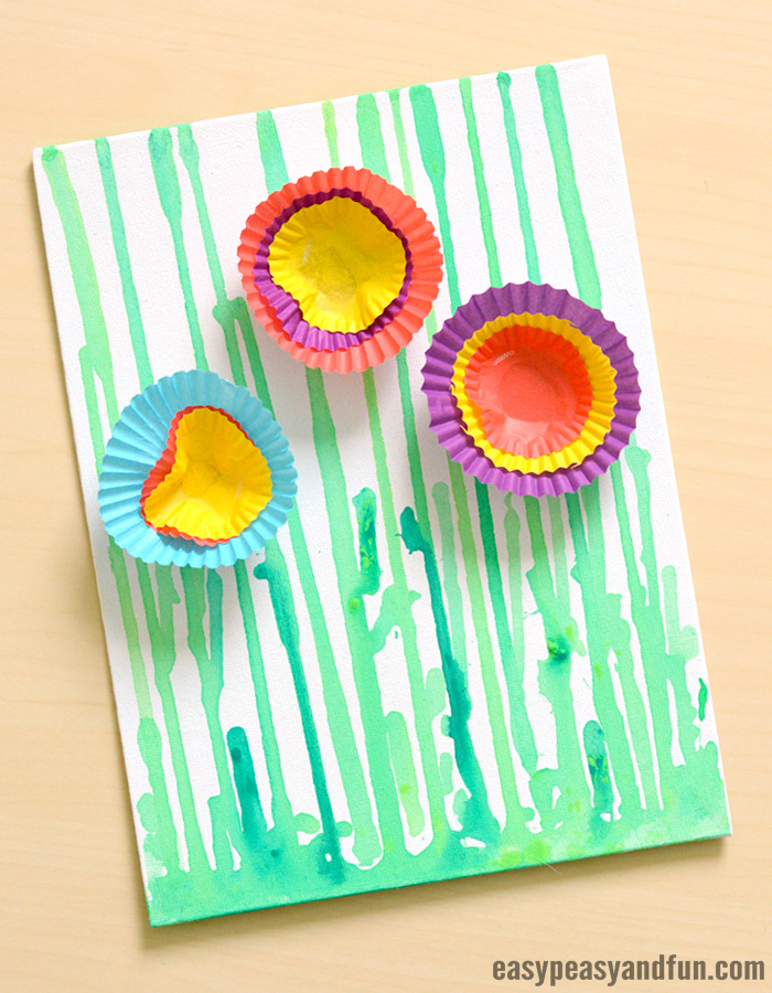 Drip Painting Flowers Art For Kids