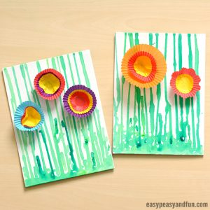Drip Painting Flowers – Spring Art Idea for Kindergarten
