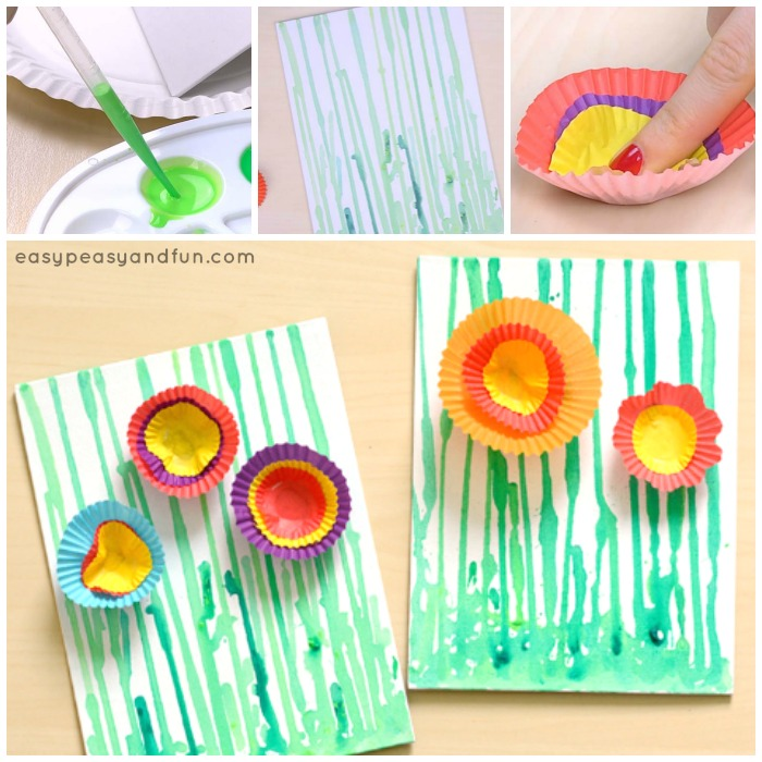 Drip Painting Flowers Art Project For Kids