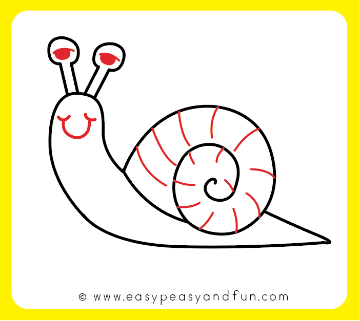 How To Draw A Snail Cute Easy Step