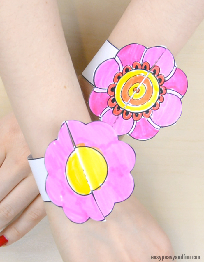 Flower Paper Bracelets for Kids to Make
