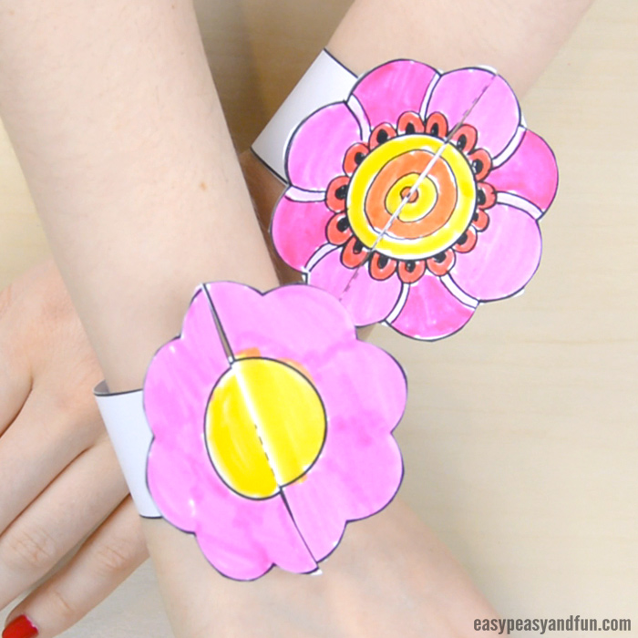 Flower Paper Bracelets for Kids