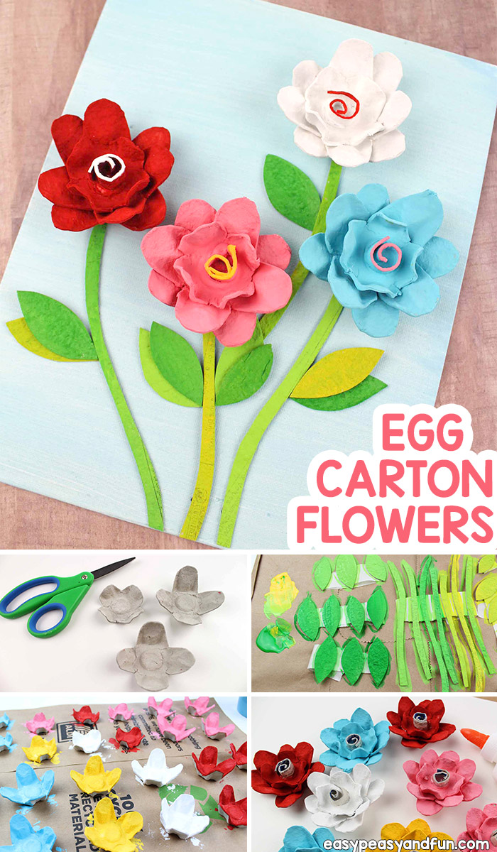 Create beautiful DIY egg carton flowers. This egg carton craft for kids is perfect for spring time and will make the most wonderful Mother's day kid made gift. Recycled crafts are the best. Kindergarten classroom friendly.